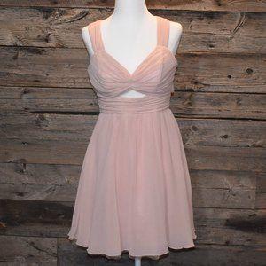 Blush Pink Chiffon Mini Party Dress M